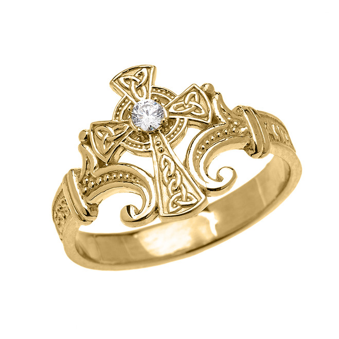 Yellow Gold Solitaire Cubic zirconia Celtic Cross with Encrypted Prayer Blessings Elegant Ring