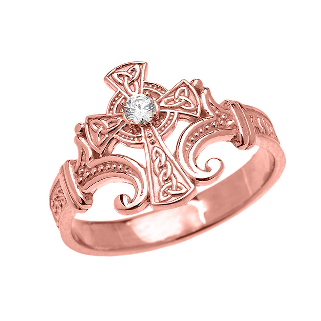 Rose Gold Solitaire Diamond Celtic Cross with Encrypted Prayer Blessings Elegant Ring