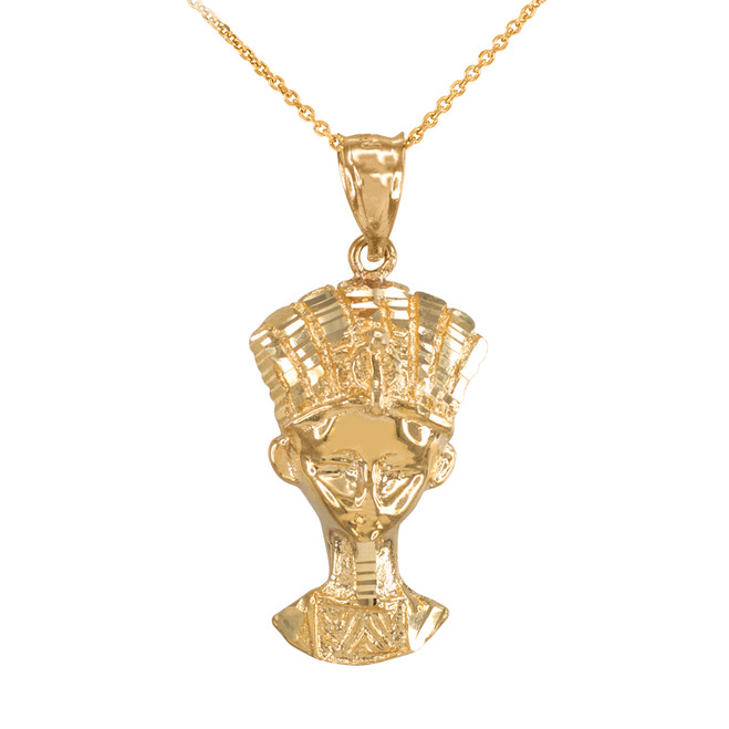 Gold Egyptian Queen Nefertiti Pendant Necklace