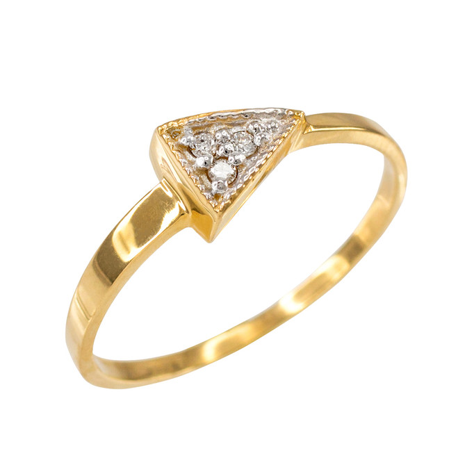 Fine Yellow Gold Geometric Design Dainty Triangle Ring with Diamonds