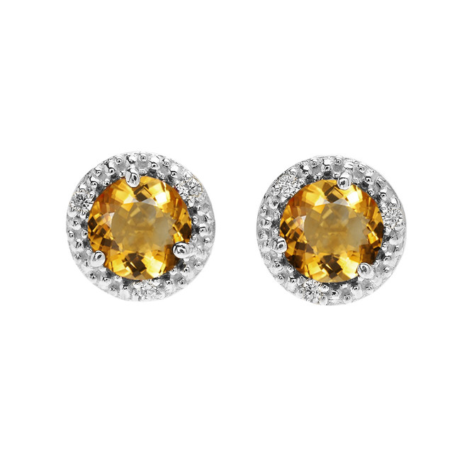 Halo Stud Earrings in White Gold with Solitaire Citrine and Diamonds