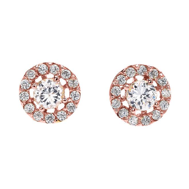 Halo Diamond Stud Earrings in Rose Gold