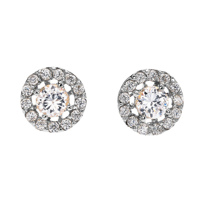 Halo Diamond Stud Earrings in White Gold