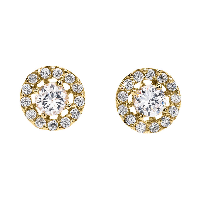 Halo Diamond Stud Earrings in Yellow Gold