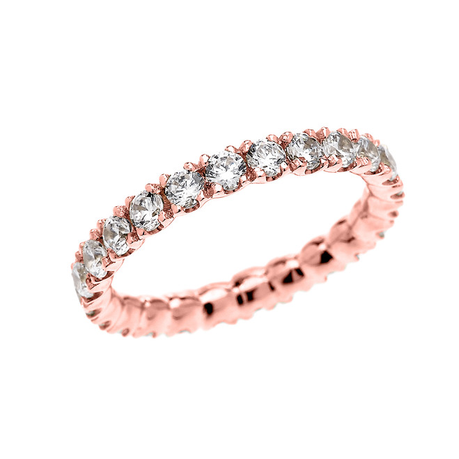 1.5 Carat Diamond Stackable Wedding Band in 14K Rose Gold