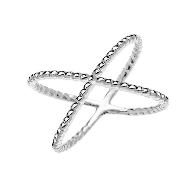 White Gold Dainty Criss Cross Rope Design Ring