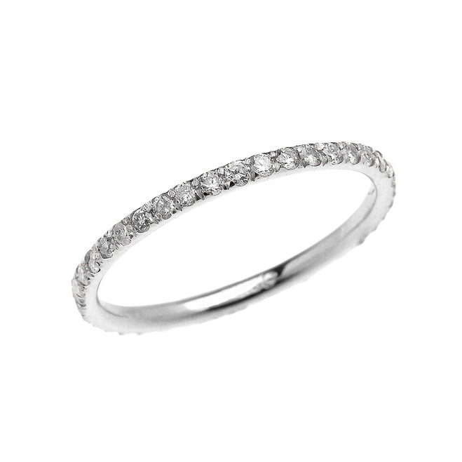Stackable White Gold Micro Pave Diamond Set Comfort Fit Eternity Band