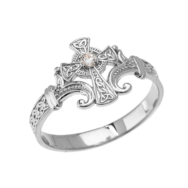 White Gold Solitaire Cubic zirconia Celtic Cross With Trinity Design Elegant Ring