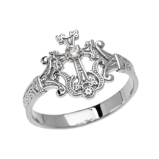 White Gold Solitaire Diamond Armenian Cross Elegant Ring