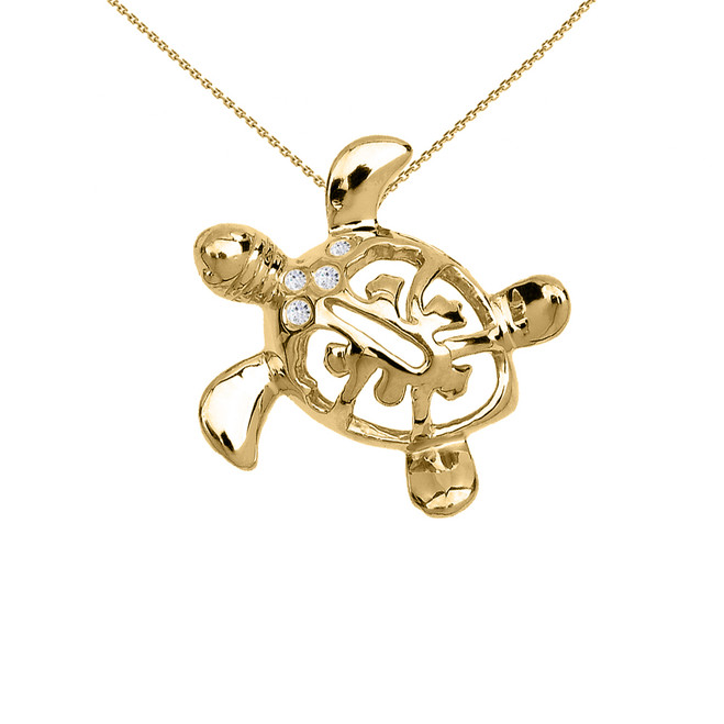 Yellow Gold Diamond Hawaiian Lucky Charm Honu Turtle Hidden Bail Pendant Necklace