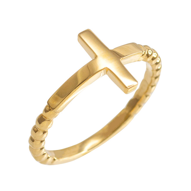 Yellow Gold Beaded Sideways Cross Ring