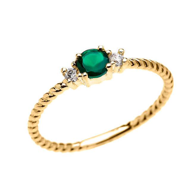 Yellow Gold Dainty Solitaire Green Agate and White Topaz Rope Design Promise/Stackable Ring