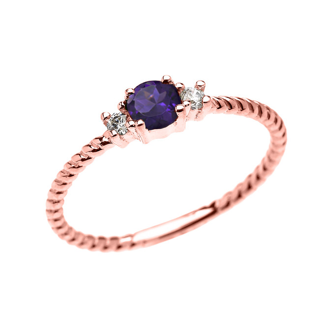 Rose Gold Dainty Solitaire Amethyst and White Topaz Rope Design Promise/Stackable Ring