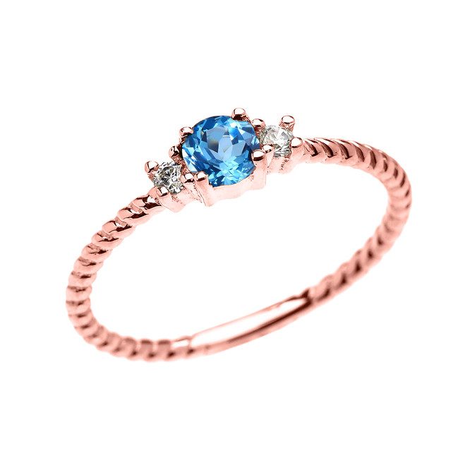 Rose Gold Dainty Solitaire Blue Topaz and White Topaz Rope Design Promise/Stackable Ring