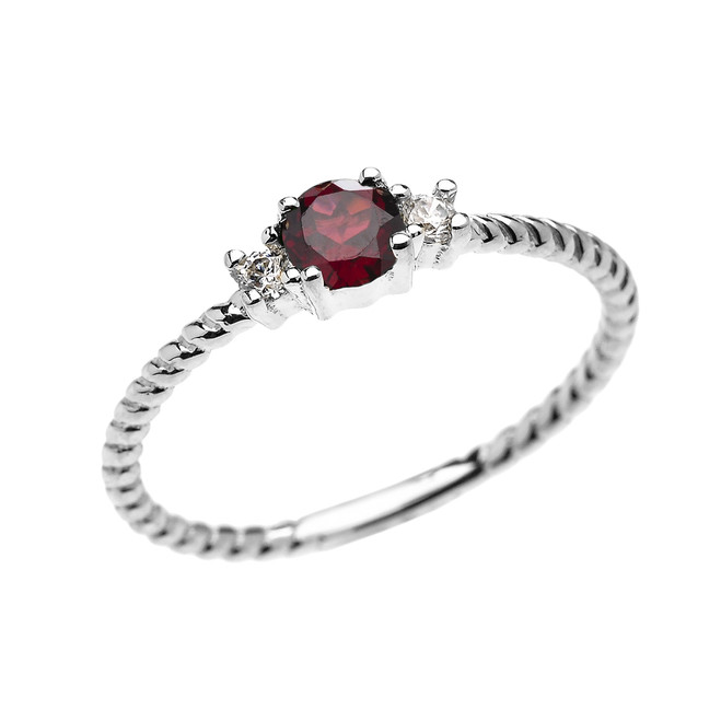 White Gold Dainty Solitaire Garnet and White Topaz Rope Design Promise/Stackable Ring