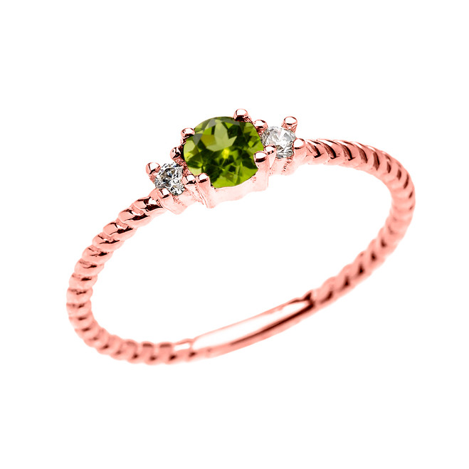 Rose Gold Dainty Solitaire Peridot and White Topaz Rope Design Promise/Stackable Ring