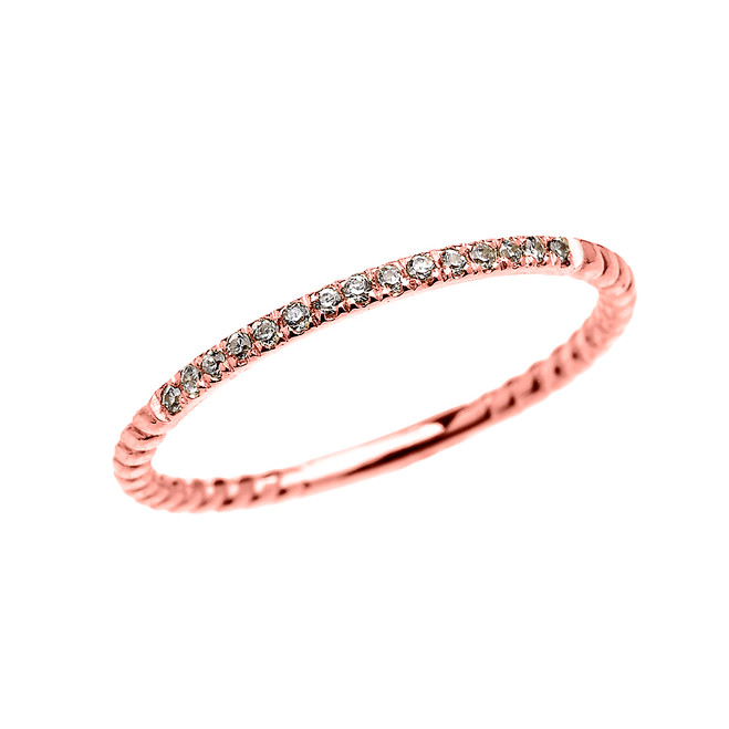 Dainty Rose Gold Diamond Stackable Rope Design Ring