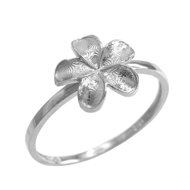White Gold Smooth Hawaiian Plumeria Flower Ring