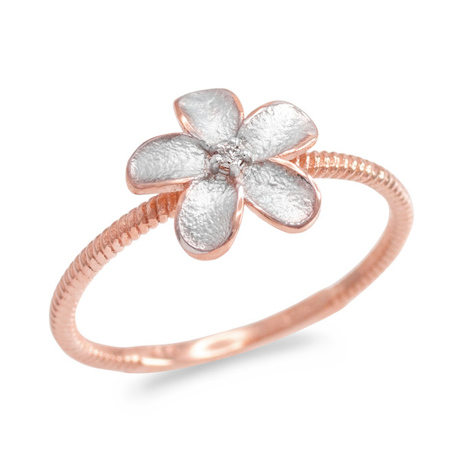 Two Tone Rose Gold Diamond Hawaiian Plumeria Flower Ring