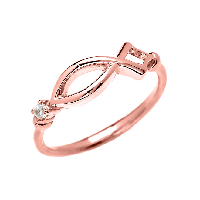 Christianity Symbol Ichtus Dainty Diamond Rose Gold Ring