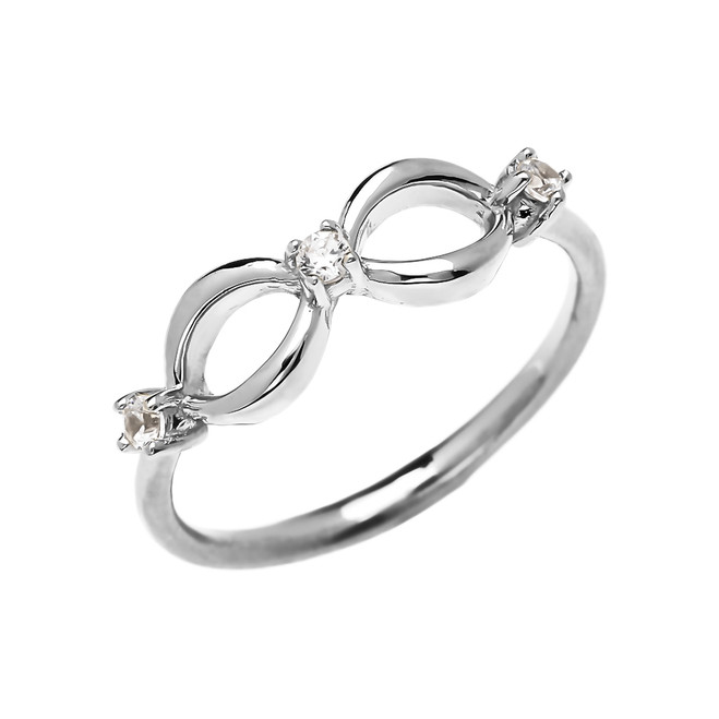 Three Diamond Dainty Infinity White Gold Ring