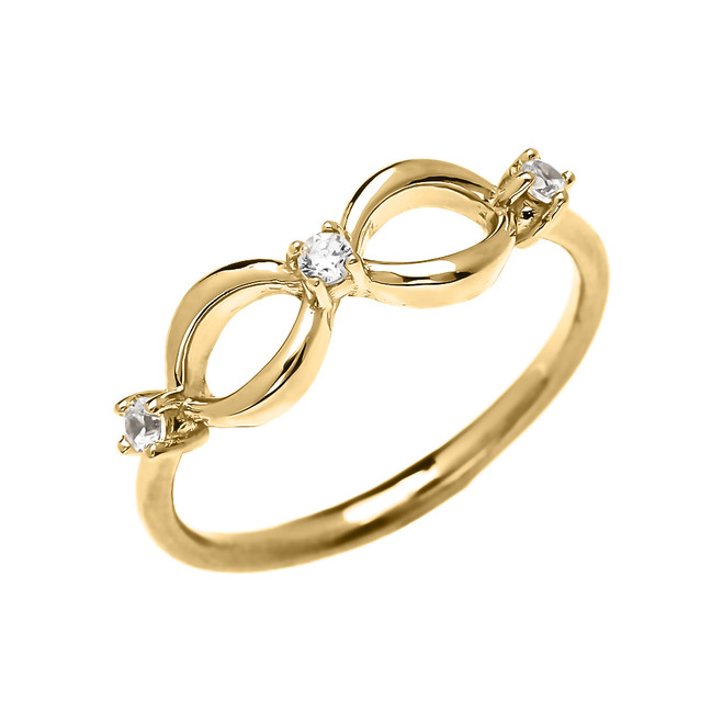 Three Cubic Zirconia Dainty Infinity Yellow Gold Ring