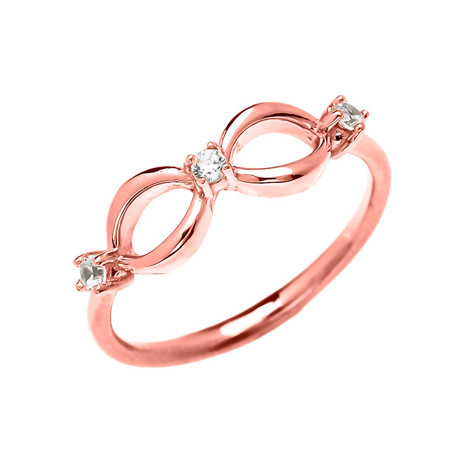 Three Cubic Zirconia Dainty Infinity Rose Gold Ring