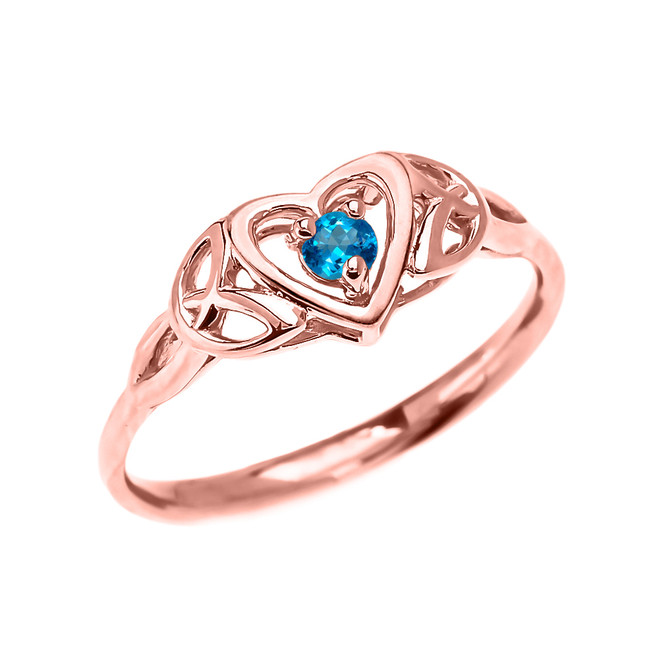 Trinity Knot Heart Solitaire Blue Topaz Rose Gold Proposal Ring