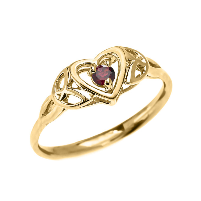 Trinity Knot Heart Solitaire Garnet Yellow Gold Proposal Ring