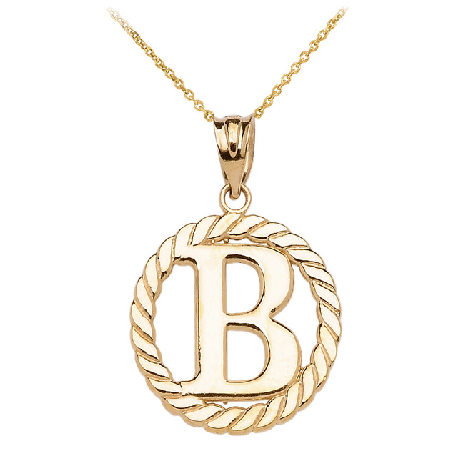 """Yellow Gold """"B"""" Initial in Rope Circle Pendant Necklace"""