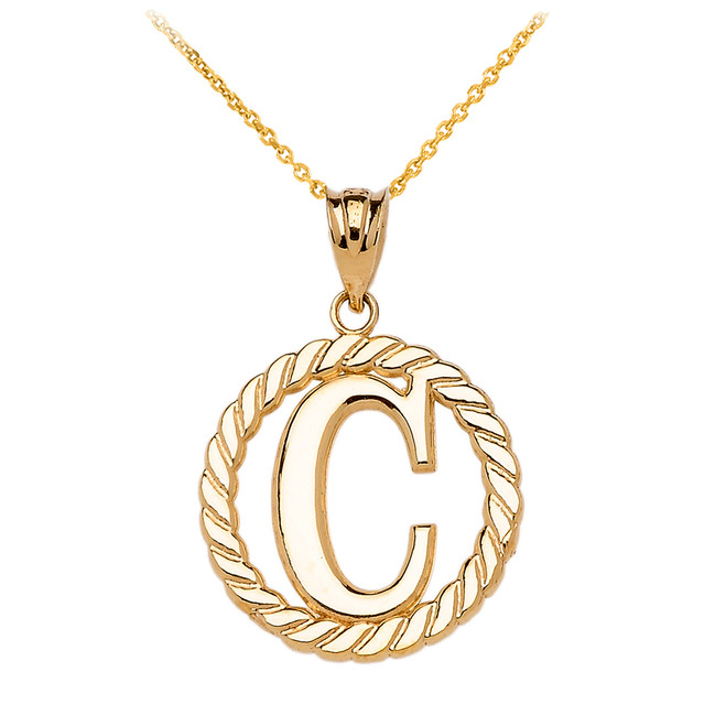 """Yellow Gold """"C"""" Initial in Rope Circle Pendant Necklace"""