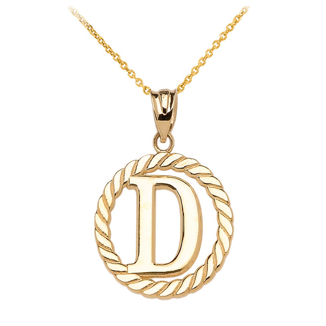 """Yellow Gold """"D"""" Initial in Rope Circle Pendant Necklace"""