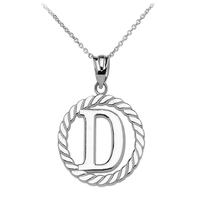 "Sterling Silver ""D"" Initial in Rope Circle Pendant Necklace"