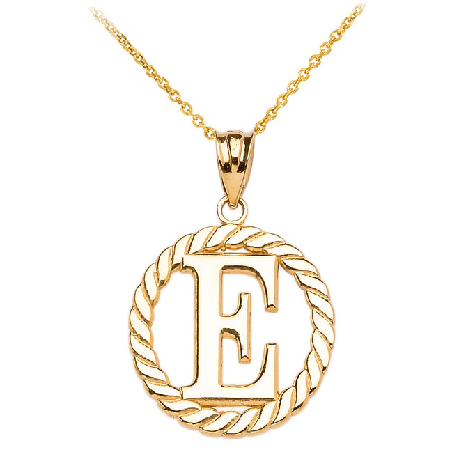 """Yellow Gold """"E"""" Initial in Rope Circle Pendant Necklace"""