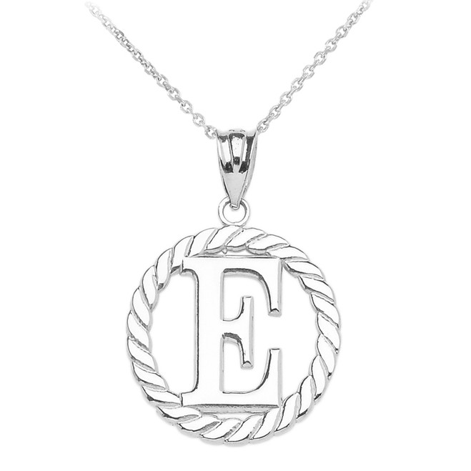 """Sterling Silver """"E"""" Initial in Rope Circle Pendant Necklace"""