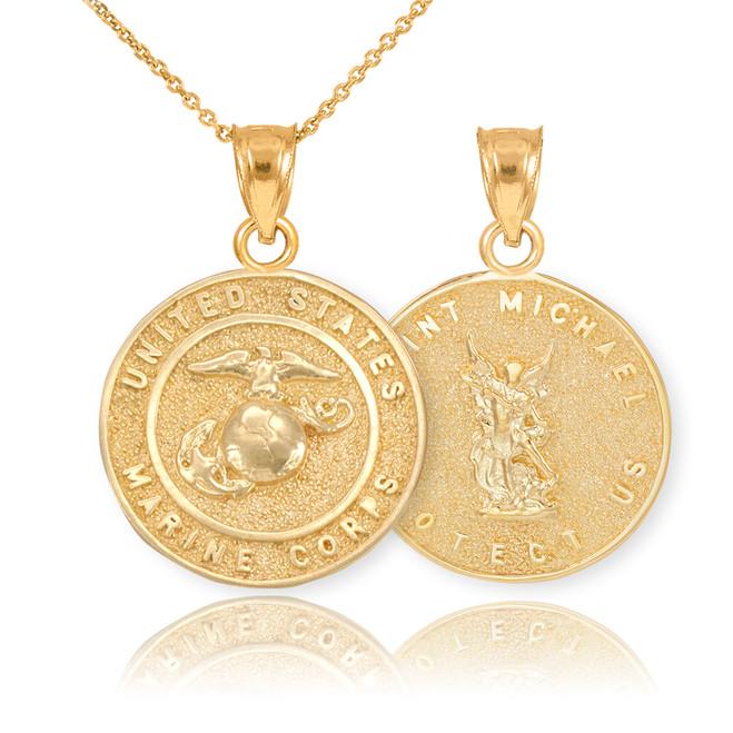 Gold US Marine Reversible St. Michael Pendant Necklace
