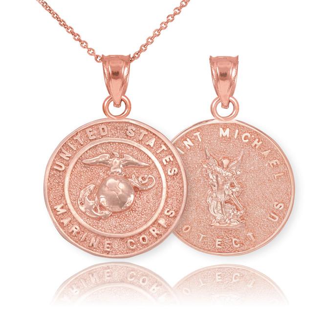 Rose Gold US Marine Reversible St. Michael Pendant Necklace