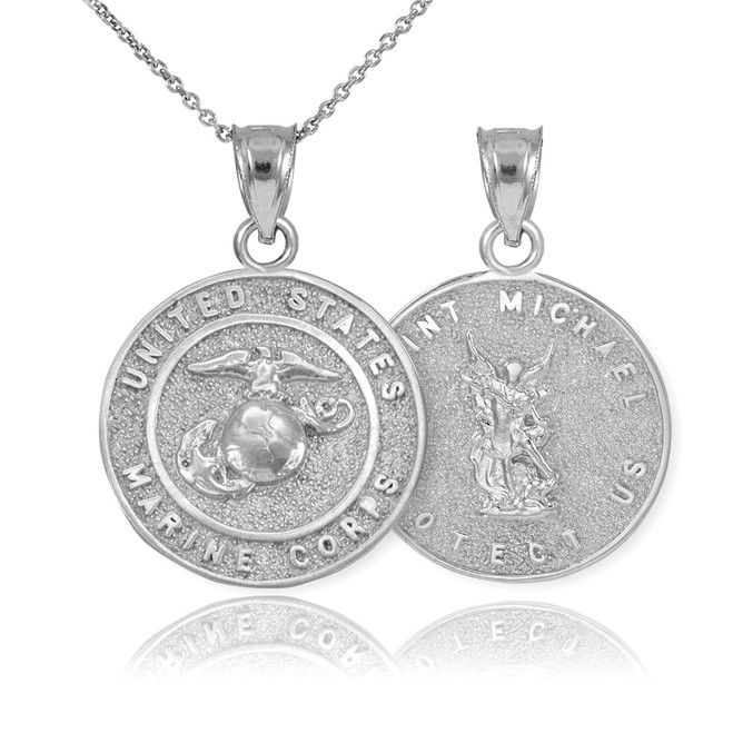 Sterling Silver US Marine Reversible St. Michael Pendant Necklace