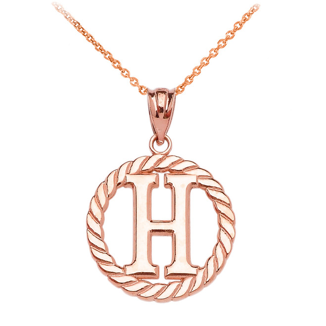 """Rose Gold """"H"""" Initial in Rope Circle Pendant Necklace"""