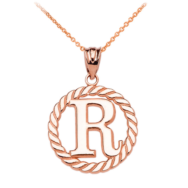 """Rose Gold """"R"""" Initial in Rope Circle Pendant Necklace"""
