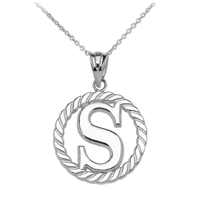 """Sterling Silver """"S"""" Initial in Rope Circle Pendant Necklace"""