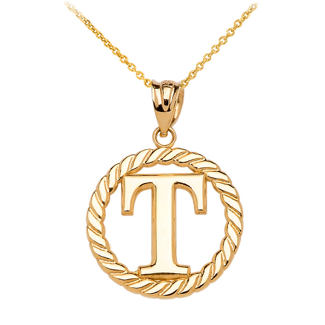 """Yellow Gold """"T"""" Initial in Rope Circle Pendant Necklace"""