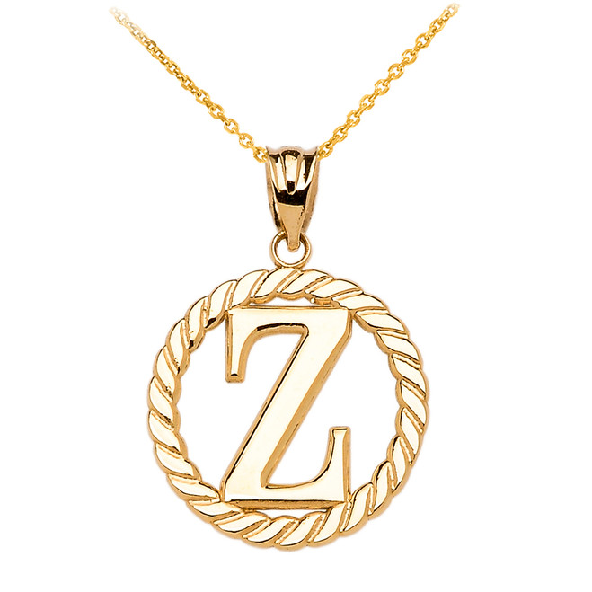 """Yellow Gold """"Z"""" Initial in Rope Circle Pendant Necklace"""