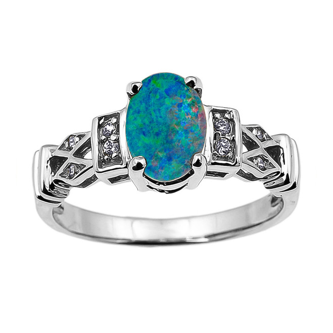 White Gold Australian Opal Doublet and Diamond Engagement Proposal Ring