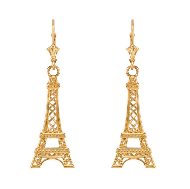 Yellow Gold Paris Eiffel Tower Earrings