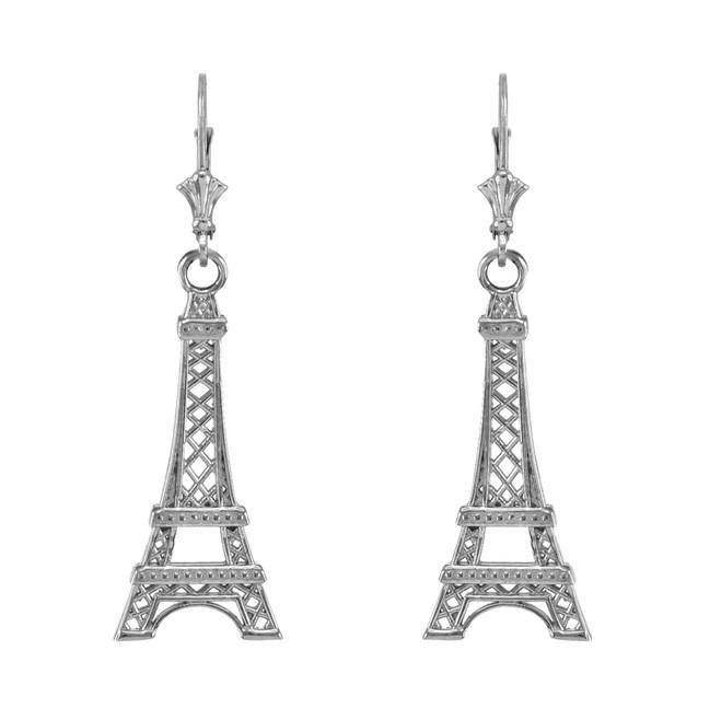 14k White Gold Paris Eiffel Tower Earrings