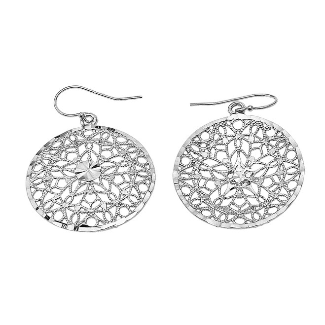 Sterling Silver Round Detailed Reversible Filigree Diamond Cut Dangling Earrings