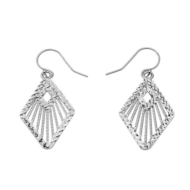 Sterling Silver Detailed Rhombus Filigree Diamond Cut Dangling Earrings
