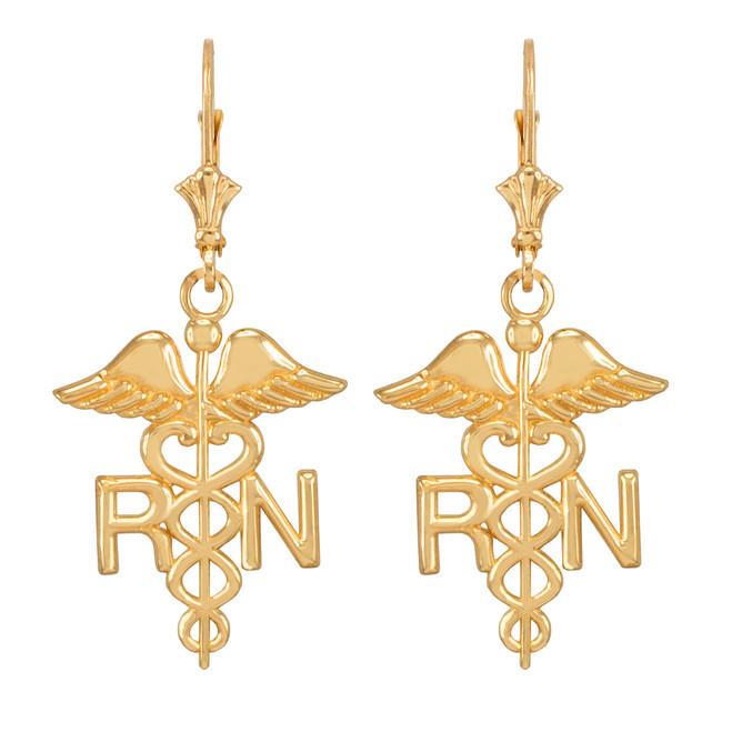 Yellow Gold Medical Registered Nurse Earrings