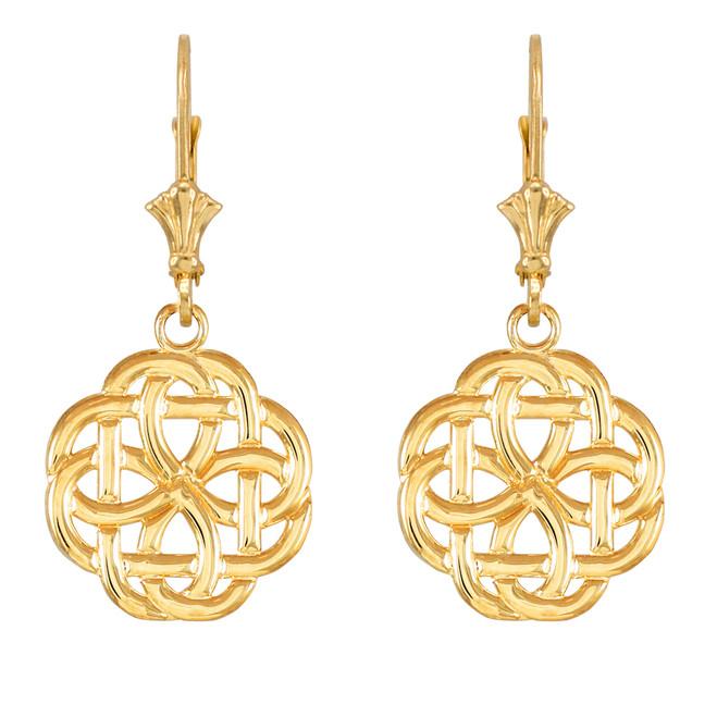 Yellow Gold Eternity Trinity Knot Earrings